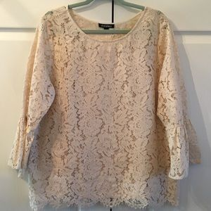 Roz & Ali Lace tunic top with bell sleeves cream